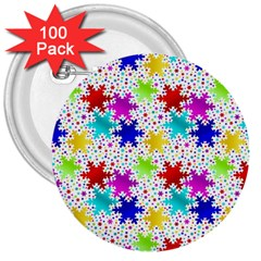 Snowflake Pattern Repeated 3  Buttons (100 Pack)  by Nexatart