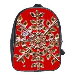 Snowflake Jeweled School Bags(Large)  by Nexatart