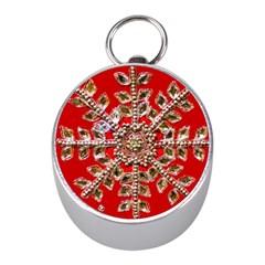 Snowflake Jeweled Mini Silver Compasses by Nexatart