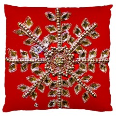 Snowflake Jeweled Large Flano Cushion Case (two Sides) by Nexatart