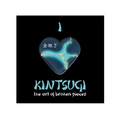 I Love Kintsugi Small Satin Scarf (square) by Tatami