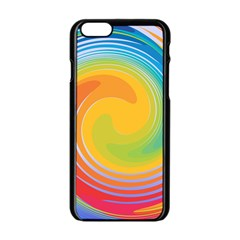 Rainbow Swirl Apple Iphone 6/6s Black Enamel Case by OneStopGiftShop