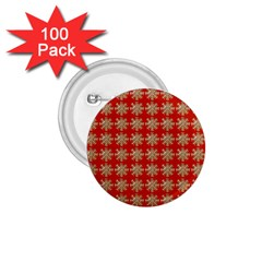 Snowflakes Square Red Background 1 75  Buttons (100 Pack)