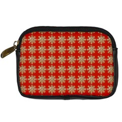Snowflakes Square Red Background Digital Camera Cases