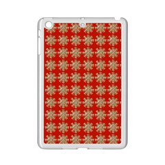 Snowflakes Square Red Background iPad Mini 2 Enamel Coated Cases by Nexatart