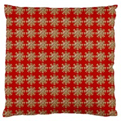 Snowflakes Square Red Background Standard Flano Cushion Case (one Side) by Nexatart
