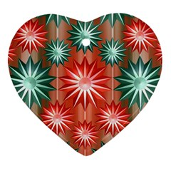 Star Pattern  Heart Ornament (two Sides) by Nexatart