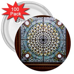 Stained Glass Window Library Of Congress 3  Buttons (100 Pack)  by Nexatart