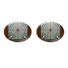 Stained Glass Window Library Of Congress Cufflinks (oval) by Nexatart