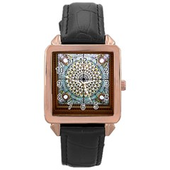 Stained Glass Window Library Of Congress Rose Gold Leather Watch  by Nexatart