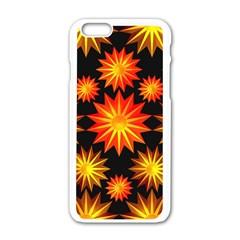 Stars Patterns Christmas Background Seamless Apple Iphone 6/6s White Enamel Case by Nexatart