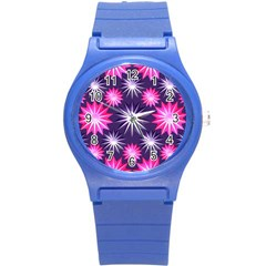 Stars Patterns Christmas Background Seamless Round Plastic Sport Watch (s) by Nexatart