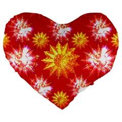 Stars Patterns Christmas Background Seamless Large 19  Premium Heart Shape Cushions