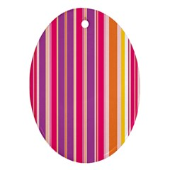 Stripes Colorful Background Pattern Oval Ornament (two Sides) by Nexatart