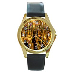 Sylvester New Year S Eve Round Gold Metal Watch by Nexatart