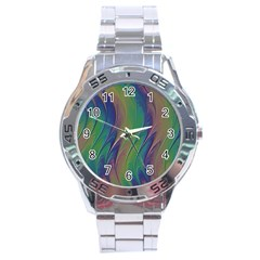 Texture Abstract Background Stainless Steel Analogue Watch by Nexatart