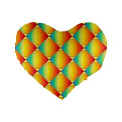 The Colors Of Summer Standard 16  Premium Flano Heart Shape Cushions by Nexatart