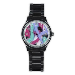 Texture Pattern Abstract Background Stainless Steel Round Watch by Nexatart