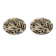 Tiger Animal Fabric Patterns Cufflinks (Oval) by Nexatart