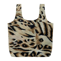 Tiger Animal Fabric Patterns Full Print Recycle Bags (l)  by Nexatart