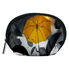 Umbrella Yellow Black White Accessory Pouches (Medium)  by Nexatart