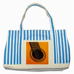 Vintage Guitar Acustic Striped Blue Tote Bag by Nexatart