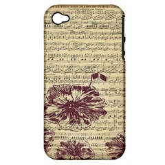 Vintage Music Sheet Song Musical Apple Iphone 4/4s Hardshell Case (pc+silicone) by Nexatart
