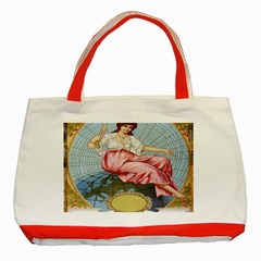 Vintage Art Collage Lady Fabrics Classic Tote Bag (Red)