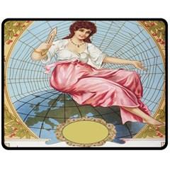 Vintage Art Collage Lady Fabrics Fleece Blanket (medium)  by Nexatart