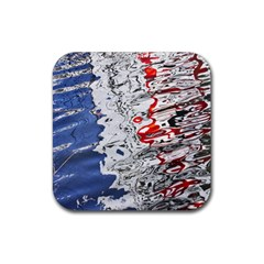 Water Reflection Abstract Blue Rubber Square Coaster (4 Pack)  by Nexatart