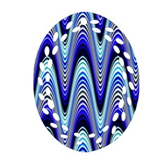 Waves Wavy Blue Pale Cobalt Navy Oval Filigree Ornament (two Sides) by Nexatart