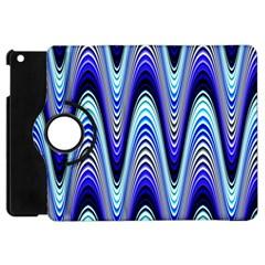 Waves Wavy Blue Pale Cobalt Navy Apple iPad Mini Flip 360 Case by Nexatart