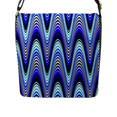 Waves Wavy Blue Pale Cobalt Navy Flap Messenger Bag (l)  by Nexatart