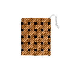 Wood Texture Weave Pattern Drawstring Pouches (XS)  by Nexatart