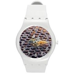 Worker Bees On Honeycomb Round Plastic Sport Watch (m) by Nexatart