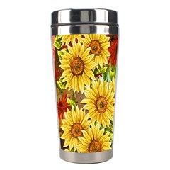 Sunflowers Flowers Abstract Stainless Steel Travel Tumblers by Nexatart