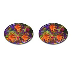 Abstract Flowers Floral Decorative Cufflinks (oval) by Amaryn4rt