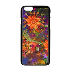 Abstract Flowers Floral Decorative Apple Iphone 6/6s Black Enamel Case by Amaryn4rt