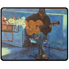 Man And His Guitar Fleece Blanket (medium)  by theunrulyartist