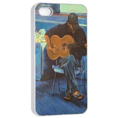 Man And His Guitar Apple Iphone 4/4s Seamless Case (white) by theunrulyartist
