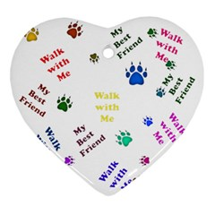 Animals Pets Dogs Paws Colorful Ornament (heart)