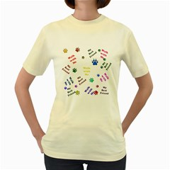 Animals Pets Dogs Paws Colorful Women s Yellow T Shirt