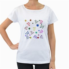 Animals Pets Dogs Paws Colorful Women s Loose Fit T Shirt (white)