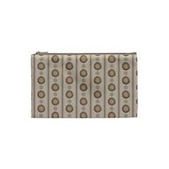 Background Rough Stripes Brown Tan Cosmetic Bag (small)  by Amaryn4rt
