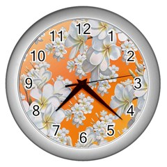 Flowers Background Backdrop Floral Wall Clocks (silver)  by Amaryn4rt