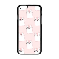 Pattern Cat Pink Cute Sweet Fur Apple Iphone 6/6s Black Enamel Case by Amaryn4rt