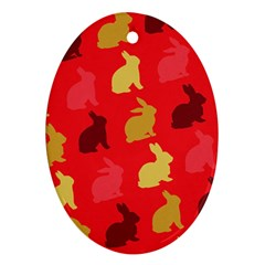Hare Easter Pattern Animals Ornament (oval) by Amaryn4rt