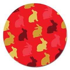 Hare Easter Pattern Animals Magnet 5  (Round)