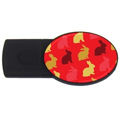 Hare Easter Pattern Animals Usb Flash Drive Oval (2 Gb)