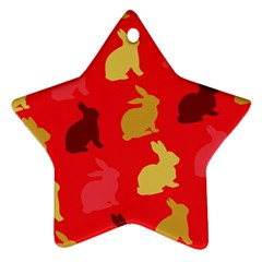 Hare Easter Pattern Animals Star Ornament (two Sides) by Amaryn4rt